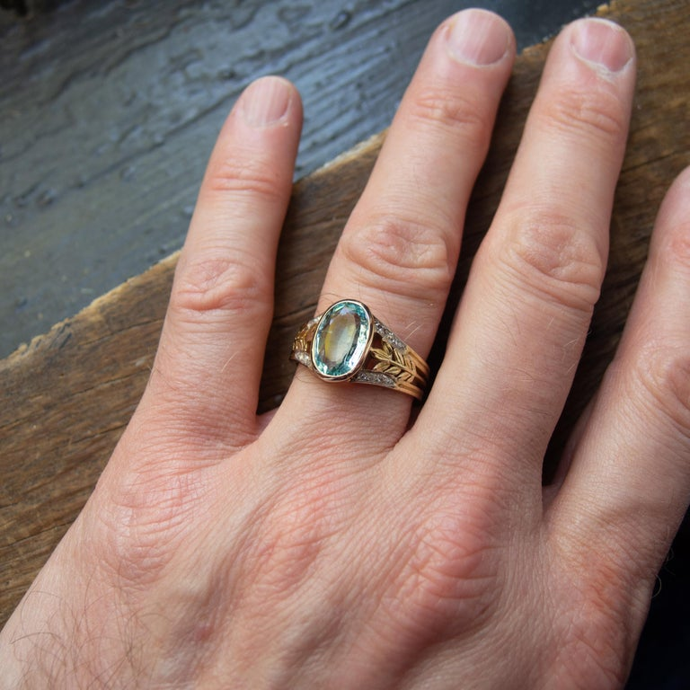 Aquamarine Ring from France, circa 1910 For Sale 13