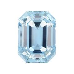 Aquamarine Ring Gem 13.11 Carat Emerald Cut Loose Gemstone