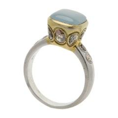 Aquamarine Ring Hand 18 Karat & Old Cut Diamonds Vintage Aquamarine Gold Ring