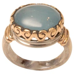 Aquamarine Ring in 18 Karat Gold and Sterling Silver