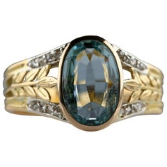 Aquamarine Ring in Gold with Diamonds French, circa 1910 is Elegance Personified