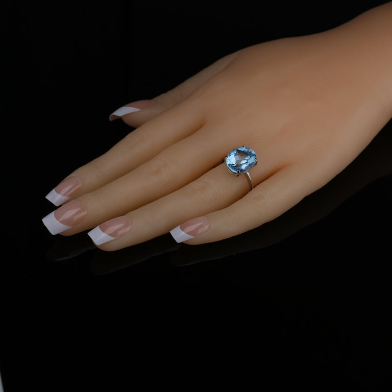 Aquamarine Ring in White Gold For Sale 7