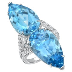 Aquamarine Ring Pear Shapes 18.59 Carats