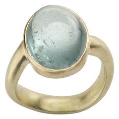 Aquamarine Ring with Wavy Shank