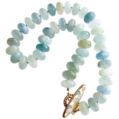 Aquamarine Rondelles Inlay Opal MOP Toggle Choker Necklace, Brynn V Necklace