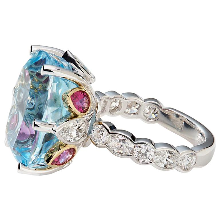 Aquamarine, Rubelite and White Diamond 18 Karat Cocktail Engagement Ring For Sale
