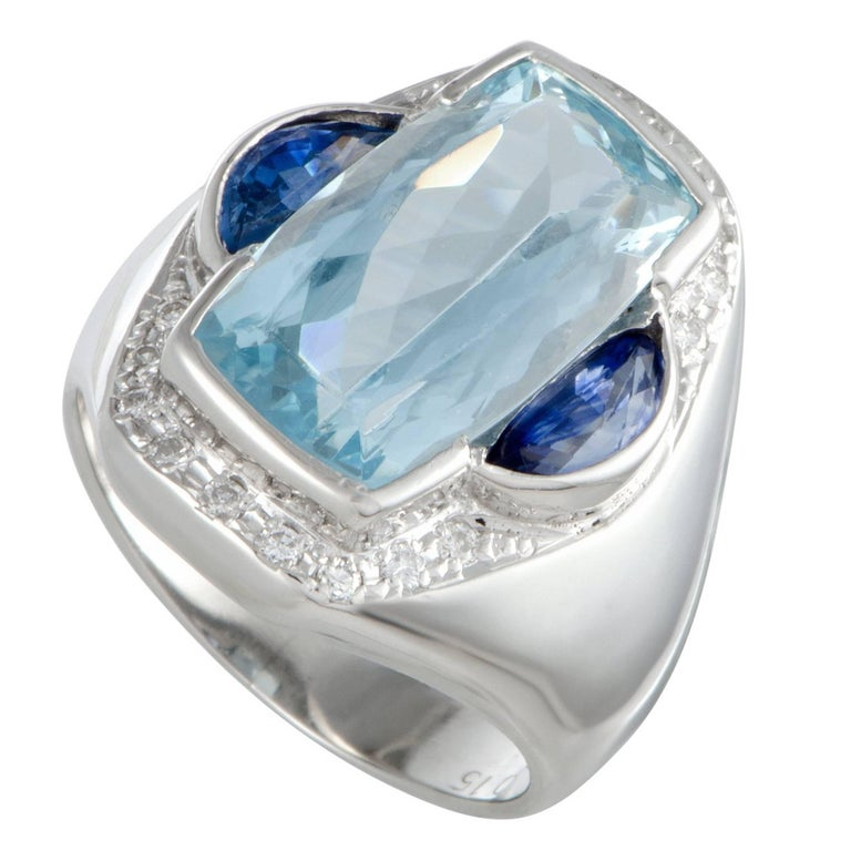 Aquamarine Sapphire and Diamond Platinum Cocktail Ring