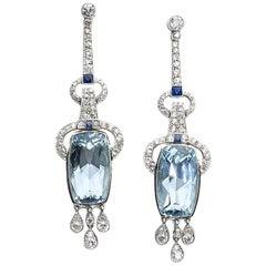 Aquamarine, Sapphire, Diamond and Platinum Earrings
