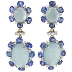 Aquamarine Sapphire Diamond Gold Dangle Earrings by Zwikker & Zacher