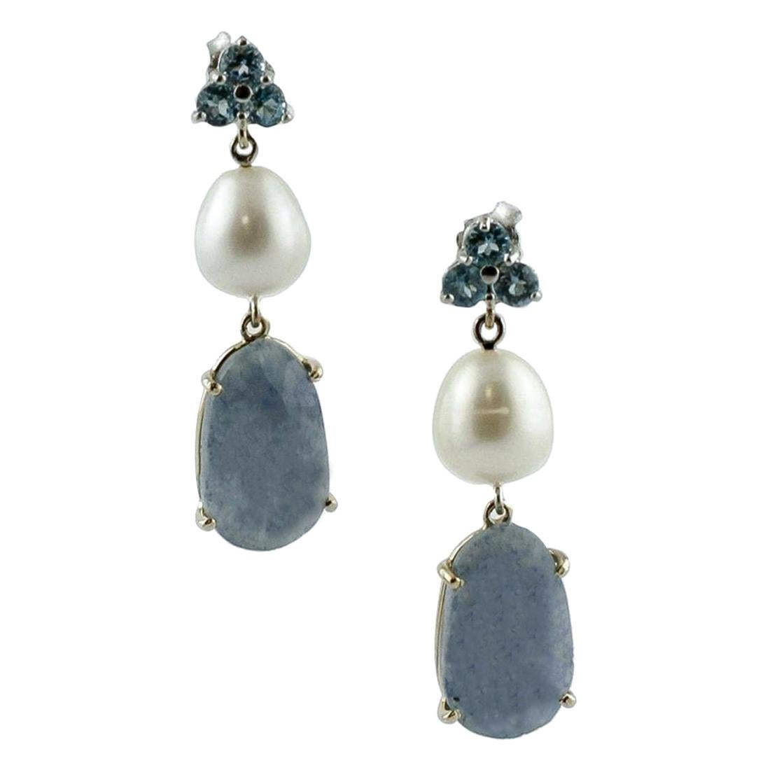 Solid Sterling Silver 34 mm carved mother of pearl bow Dangle Earrings 2.5 G