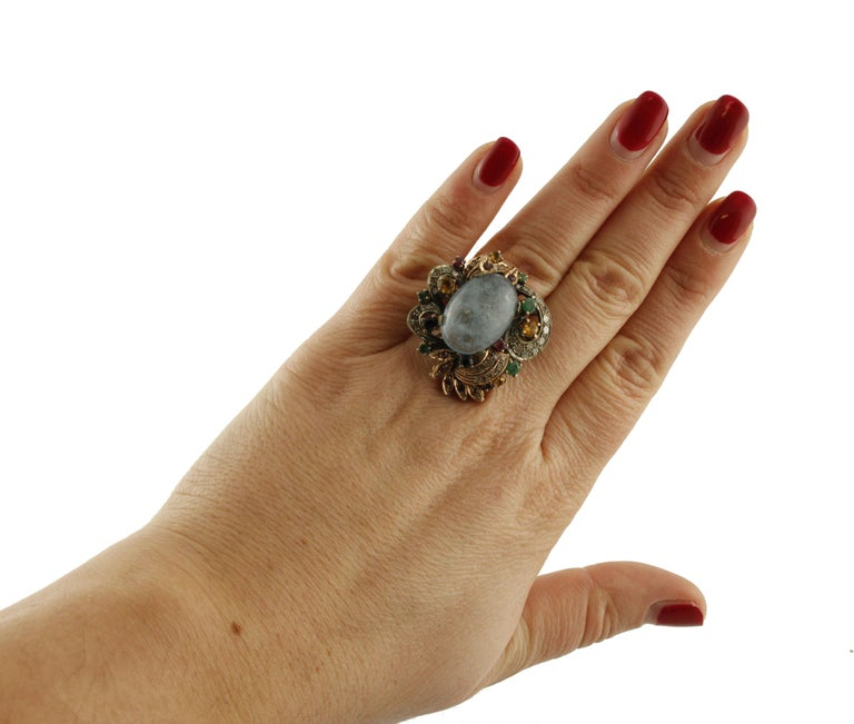 Aquamarine Sapphires Rubies Emeralds Diamonds Rose Gold and Silver Cocktail Ring For Sale 1