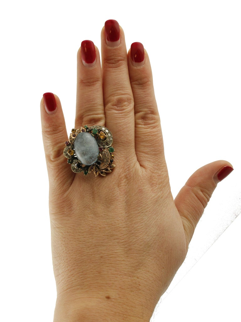 Aquamarine Sapphires Rubies Emeralds Diamonds Rose Gold and Silver Cocktail Ring For Sale 2