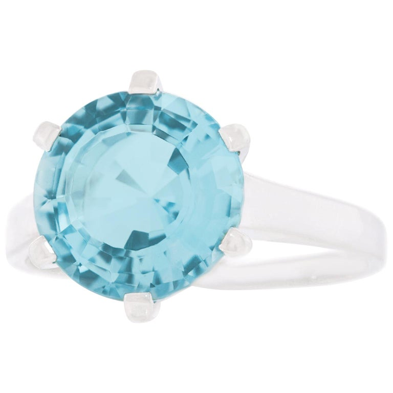 Aquamarine Set White Gold Ring For Sale