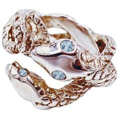 Snake Ring Cocktail Ring Aquamarine Onesie Adjustable Bronze Dauphin