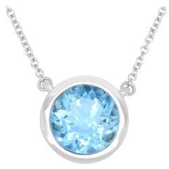 Aquamarine Solitaire Necklace
