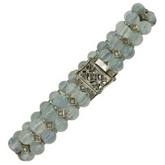 Aquamarine Spheres Rose Cut Diamonds Rose Gold and Silver Link Bracelet