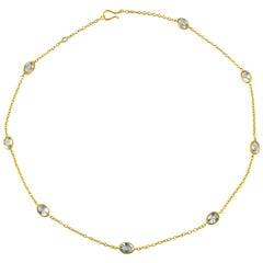 Ico & the Bird Aquamarine Station Necklace 22 Karat Gold