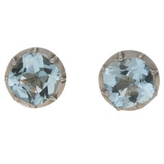 Aquamarine Stud Earrings 2.50 Carat in Silver-on-Gold Victorian Mounts
