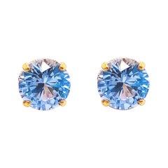 Aquamarine Stud Earrings with a 10 Karat Yellow Gold and Diamond Setting