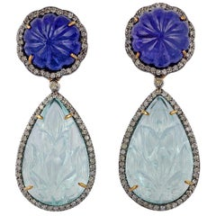 Aquamarine, Tanzanite and Diamond Earrings in Victorian Style