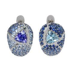 Aquamarine Tanzanite Blue Sapphires White 18 Karat Gold Riviera Earrings