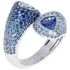 Aquamarine Tanzanite Blue Sapphires White 18 Karat Gold Riviera Ring