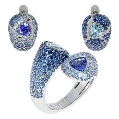 Aquamarine Tanzanite Blue Sapphires White 18 Karat Gold Riviera Suite