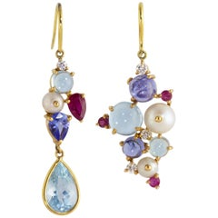 Ico & the Bird Aquamarine,Tanzanite Rudy Diamond Pearl 18 Karat Gold Earrings