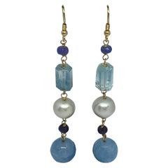 Aquamarine, Tanzanite, Sapphire, and Pearl Statement Earrings in 18 Karat Gold