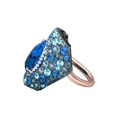 Aquamarine Topaz Sapphire Diamond Ring 8.5 Carat