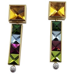 Aquamarine Tourmaline Citrine Peridot Diamond Gold Earrings, Atelier Munsteiner
