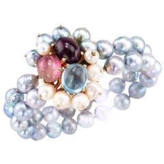 Aquamarine Tourmaline Cultured Pearl Bracelet