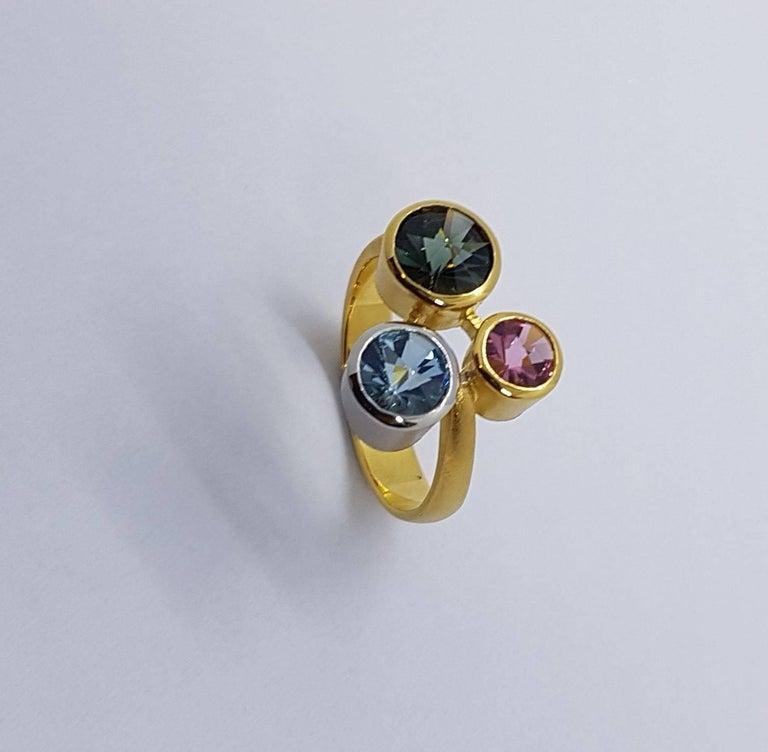 Modern Aquamarine Tourmaline Gold Platinum Ring Atelier Munsteiner For Sale