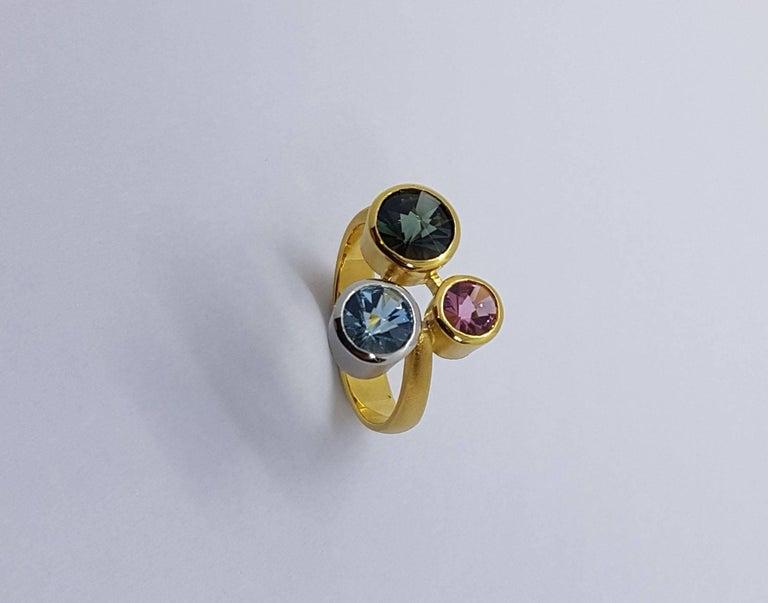 Aquamarine Tourmaline Gold Platinum Ring Atelier Munsteiner In New Condition For Sale In Berlin, DE