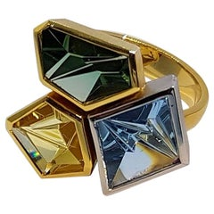 Aquamarine Tourmaline Golden Beryl Platinum Gold Atelier Munsteiner Ring