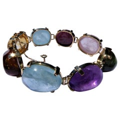 Aquamarine, Tourmaline, Rose Quartz, Amethyst, Citrine Gold Multi-Color Bracelet