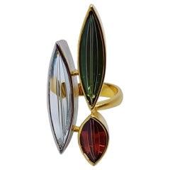 "Aquamarine Tourmaline Spessartite Gold Ring ""Erotik"" by Atelier Munsteiner"