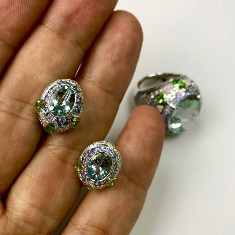 Oval Cut Aquamarine Tsavorite Diamonds Sapphire 18 Karat White Gold Oriental Earrings For Sale