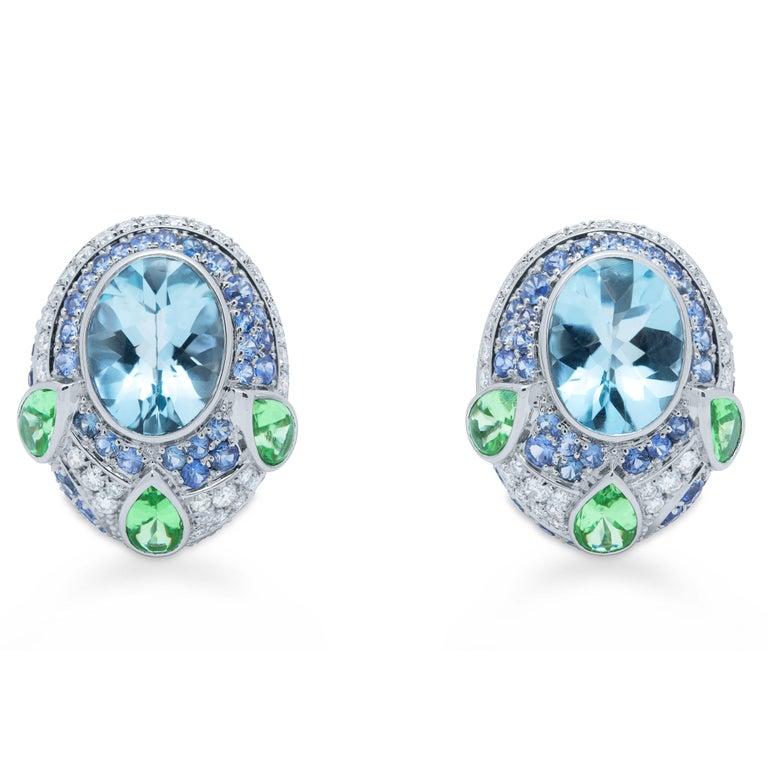 Contemporary Aquamarine Tsavorite Diamonds Sapphire 18 Karat White Gold Oriental Earrings For Sale