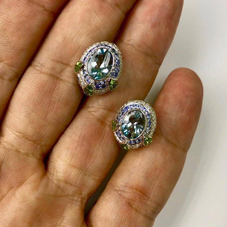 Aquamarine Tsavorite Diamonds Sapphire 18 Karat White Gold Oriental Earrings In New Condition For Sale In Bangkok, TH