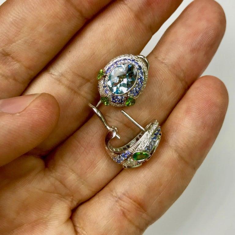 Aquamarine Tsavorite Diamonds Sapphire 18 Karat White Gold Oriental Earrings For Sale 1