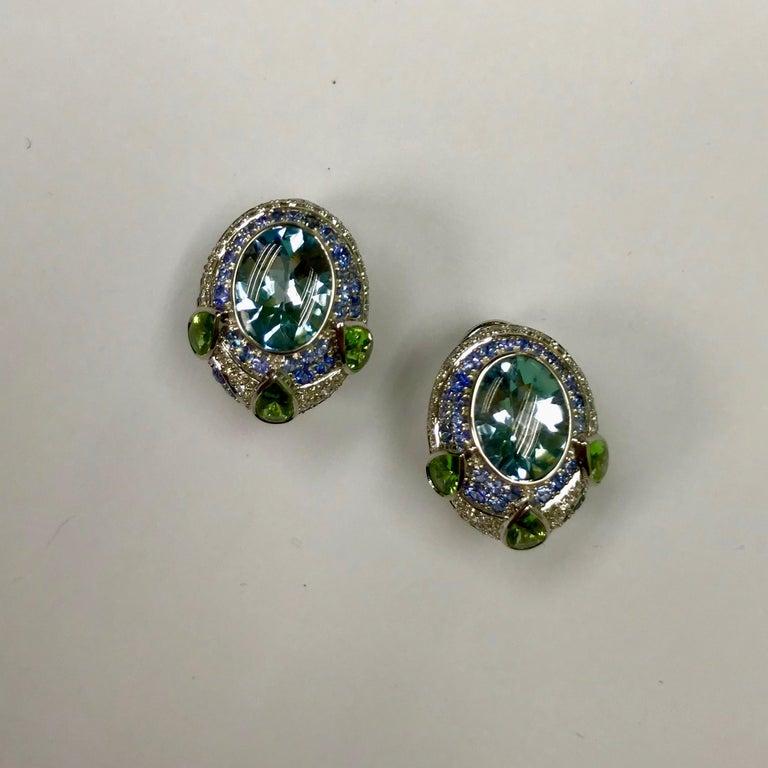 Aquamarine Tsavorite Diamonds Sapphire 18 Karat White Gold Oriental Earrings For Sale 2