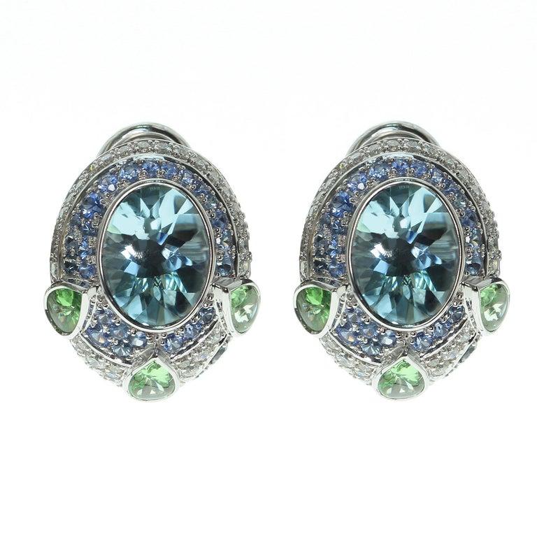 Aquamarine Tsavorite Diamonds Sapphire 18 Karat White Gold Oriental Earrings For Sale