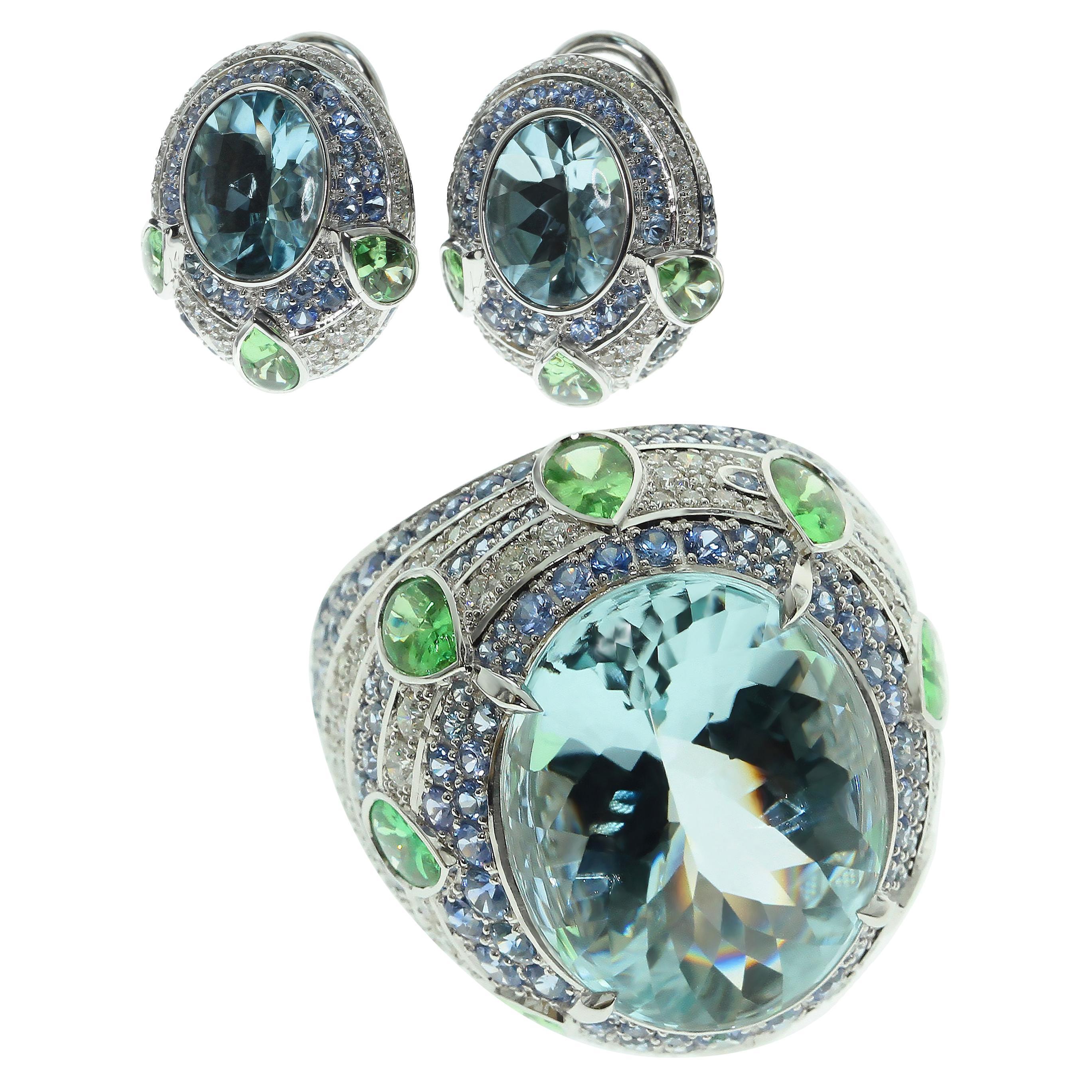 Aquamarine Tsavorite Diamonds Sapphire 18 Karat White Gold Oriental Suite