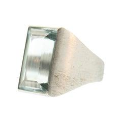 Aquamarine 14 Karat Brushed White Gold Vintage Ring