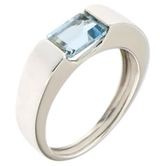 Aquamarine White 18 Karat Gold Band Ring Handcrafted in Italy by Botta Gioielli