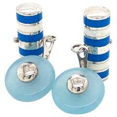 Berca Aquamarine White and Cerulean Blue Hand Enameled Sterling Silver Cufflinks