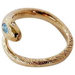 Aquamarine White Diamond Gold Snake Ring Victorian Style Cocktail J Dauphin