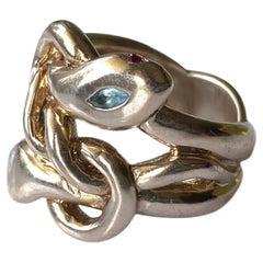 Aquamarine White Diamond Ruby Snake Ring Cocktail Ring Bronze J Dauphin