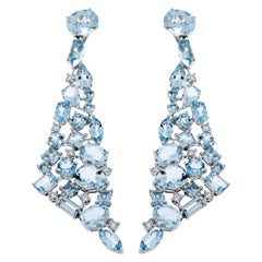 Aquamarine White Gold Chandelier Earrings by Etho Maria